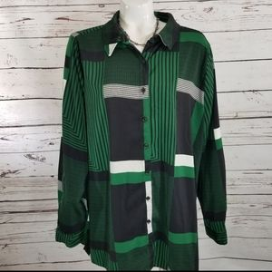 SUSAN GRAVER BLOUSE SHADES OF GREEN XL